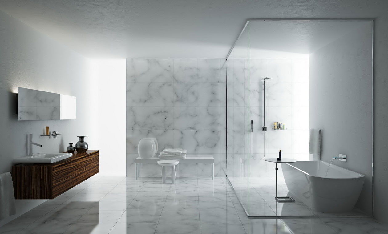 modern glass bathroom