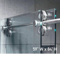 Roller System – 59W x 84H Frameless Sliding Shower Door – Low iron Ultra-Clear Glass
